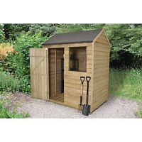 Forest Garden 6 x 4 ft Reverse Apex Overlap Pressure Treated Shed