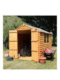 Mercia 8 X 6Ft Great Value Overlap Apex Shed With Windows And Double Doors