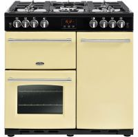 Belling Farmhouse90G 90cm Gas Range Cooker with Electric Fan Oven - Cream - B/A Rated