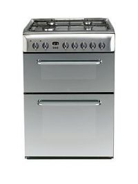 Indesit Kdp60Ses 60Cm Wide Dual Fuel Double Oven Cooker, Gas Hob With Fsd - Stainless Steel