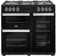 Belling Cookcentre90G 90cm Gas Range Cooker with Electric Fan Oven - Black - A/A Rated