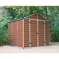 Palram 8 x 8 ft Skylight Plastic Apex Shed Amber