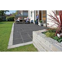 Marshalls Aluri Limestone Riven Charcoal Mixed Size Paving Patio Pack - 11.25 m2