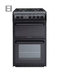 Hotpoint HAG51K 50cm Twin Cavity Gas Cooker with FSD - Black