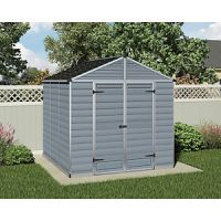 Palram 8 x 8 ft Skylight Plastic Apex Shed Grey