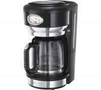 RUSSELL HOBBS Retro Glass Filter Coffee Machine - Black, Black