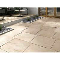 Marshalls Indian Sandstone Riven Buff Multi Paving Slab 600 x 600 x 22 mm