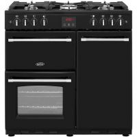 Belling Farmhouse90G 90cm Gas Range Cooker with Electric Fan Oven - Black - B/A Rated