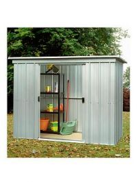 Yardmaster 6.5 X 3.9Ft Double Door Metal Pent Roof Shed With Floor Frame