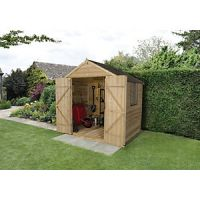 Forest Garden 7 x 5 ft Apex Overlap Pressure Treated Double Door Shed