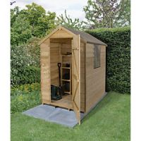 Wickes 4 x 6 ft Small Overlap Pressure Treated Apex Shed with Window