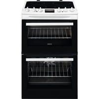 Zanussi ZCV46250WA 55cm Double Oven Electric Cooker With Ceramic Hob - White