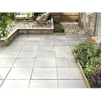 Marshalls Indian Sandstone Riven Grey Multi 600 x 600 x 22 mm Paving Slab
