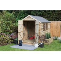 Wickes Double Door Pressure Treated Timber Overlap Apex Shed - 6 x 8 ft