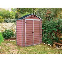 Palram 6 x 3 ft Back to Wall Amber Double Door Plastic Shed with Skylight Roof