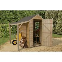 Forest Garden 6 x 4 ft Apex Overlap Pressure Treated Shed with Side Shelter