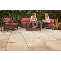Marshalls Indian Sandstone Textured Brown Multi Paving Slab 275 x 275 x 25 mm - 9.68m2 pack