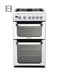Hotpoint Ultima HUG52P 50cm Double Oven Gas Cooker with FSD - White