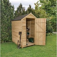 Forest Garden Apex Overlap Pressure Treated Windowless Shed - 6 x 4 ft