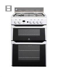 Indesit ID60G2W 60cm Double Oven Gas Cooker