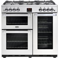 Belling Cookcentre90GProf 90cm Gas Range Cooker with Electric Fan Oven - Stainless Steel - A/A Rated