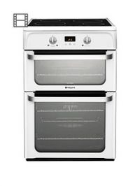 Hotpoint Ultima HUI612P 60cm Double Oven Electric Cooker with Induction Hob - White