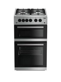 Beko Kdg582S 50Cm Wide Twin Cavity Gas Cooker - Silver