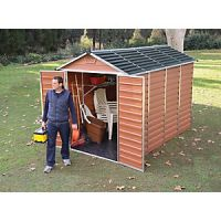 Palram 6 x 10 ft Large Amber Double Door Plastic Apex Shed with Skylight Roof