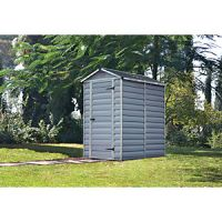 Palram 4 x 6 ft Small Grey Plastic Apex Shed with Skylight Roof