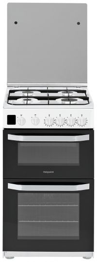 Hotpoint HD5G00CCW 50cm Double Oven Gas Cooker - White