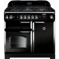 Rangemaster Classic CLA100NGFBL/C 100cm Gas Range Cooker with Electric Fan Oven - Black / Chrome - A+/A Rated