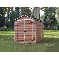 Palram 6 x 8 ft Amber Double Door Plastic Apex Shed with Skylight Roof