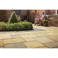 Marshalls Aluri Limestone Riven Rustic Ochre Mixed Size Paving Patio Pack - 11.2 m2