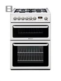 Hotpoint Newstyle HAG60P 60cm Double Oven Gas Cooker with FSD - White