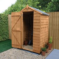 Forest Garden 4 x 3ft Small Windowless Overlap Apex Dip Treated Shed
