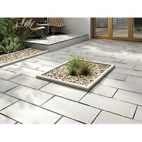 Marshalls Indian Sandstone Riven Grey Multi Paving Slab 600 x 300 x 22 mm