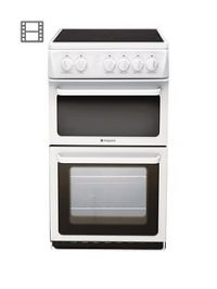 Hotpoint Newstyle HAE51PS 50cm Twin Cavity Electric Cooker with Ceramic Hob - White
