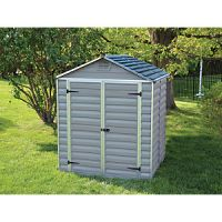 Palram 6 x 5 ft Grey Double Door Plastic Apex Shed with Skylight Roof