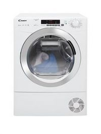 Candy Grand'O Vita GVSH9A2DCE 9kg Load, Heat Pump Tumble Dryer with Smart Touch - White/Chrome
