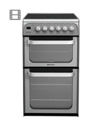 Hotpoint Ultima HUE52GS 50cm Double Oven Electric Cooker with Ceramic Hob - Graphite