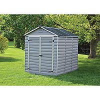 Palram 6 x 8 ft Large Double Door Plastic Apex Shed with Skylight Roof