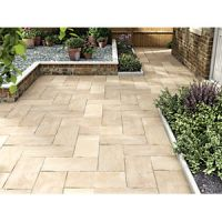 Marshalls Indian Sandstone Riven Buff Multi Paving Slab 600 x 300 x 22 mm