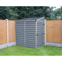 Palram Skylight Plastic Pent Shed with Base Grey - 4 x 6 ft
