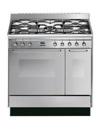 Smeg CC92MX9 90cm Dual Fuel Double Oven Range Cooker with Gas Hob