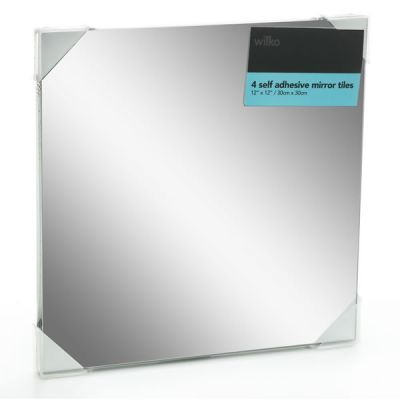 Wilko Mirror Tiles Self Adhesive 30cmx30cm